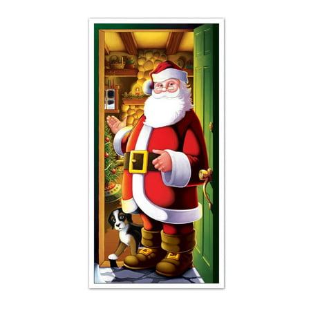 Winter Wonderland Theme Decorations (Club Pack of 12 Winter Wonderland Themed Santa Claus Door Cover Party Decorations)