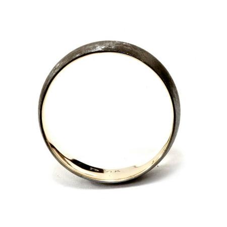 14k Black and Yellow Gold 2 Tone Wedding Band Mens Brushed Handmade Ring - image 1 de 2