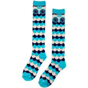 Turquoise Blue Owl Knitted High Knee Socks