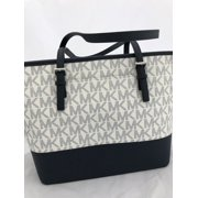 eec71aa2856f85 NWT Michael Kors Medium Carryall Tote Navy Blue Vanilla White MK Floral  Glitter Image 11 of