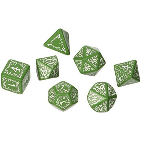 Q-Workshop Elvish Dice Green and White - Set of 7 Dice