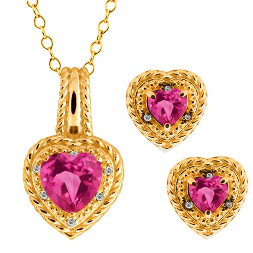 4.07 Ct Heart Shape Pink Mystic Topaz 18k Yellow Gold Pendant Earrings Set