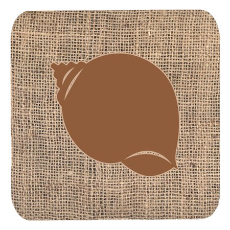 Bb Shell Set - Set of 4 Shell Burlap and Brown Foam Coasters