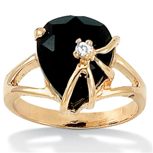 PalmBeach Jewelry 240386 Heart-Shaped Genuine Onyx Cubic Zirconia Accent 14k Yellow Gold-Plated Cocktail Ring - Size 6