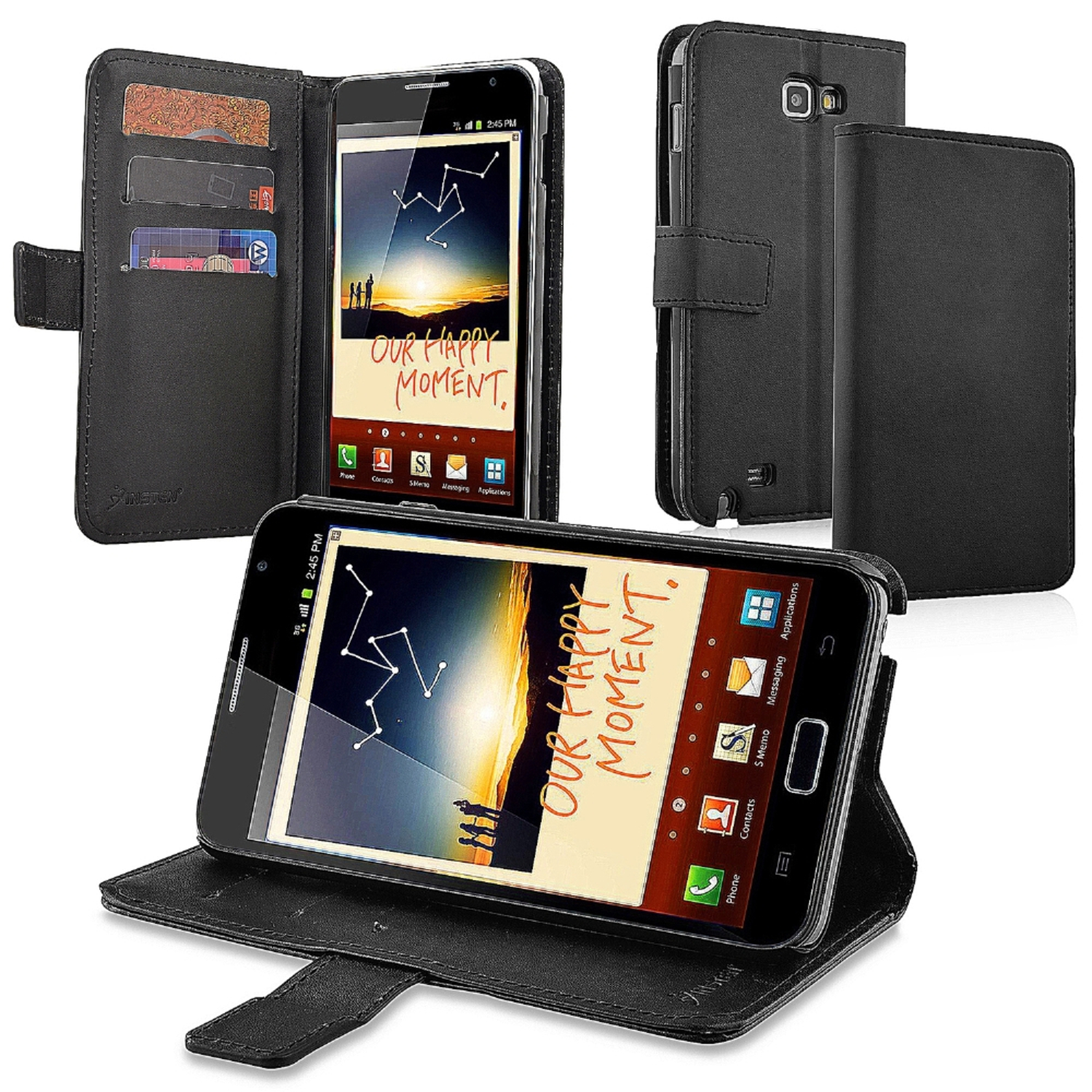 Insten Leather Wallet Case with Card Holder For Samsung Galaxy Note N7000, Black
