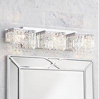"Possini Euro Design Modern Wall Light Chrome Crystal 25 3/4"" Vanity Fixture for Bathroom Over Mirror"