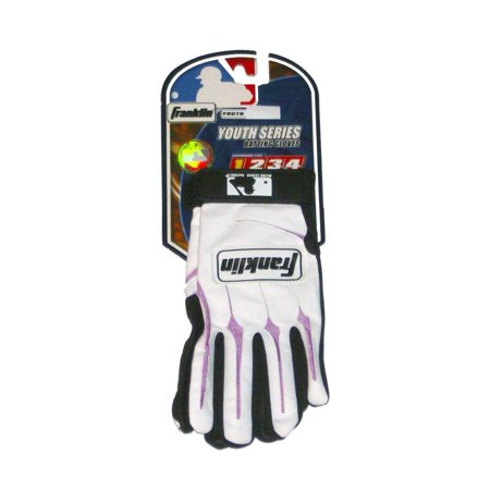 - Franklin Youth Batting Gloves White & Pink Youth Small Baseball Batters Glove