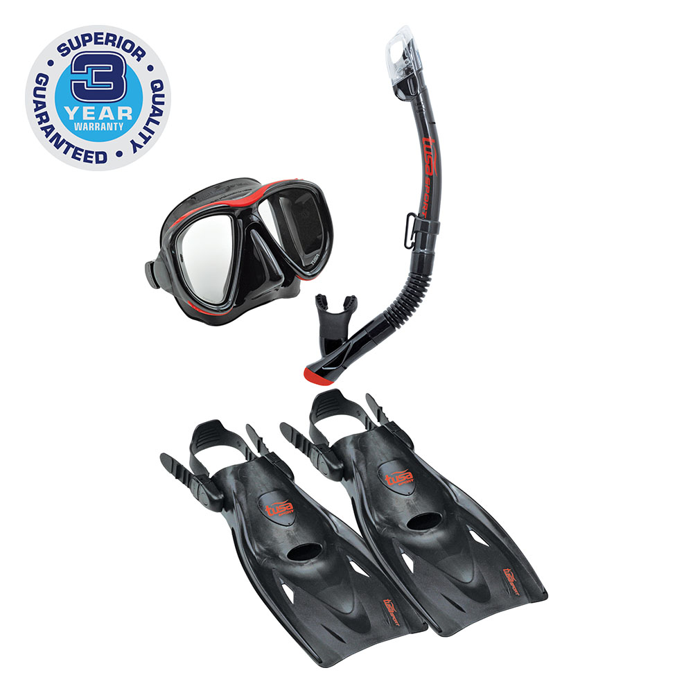 Click here to buy TUSA Sport Adult Powerview Mask, Dry Snorkel, and Fin Travel Set by Tabata USA, Inc..