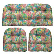 RSH Décor Indoor Outdoor Multi Color 3 Piece Tufted Wicker Cushion Set - 1 Loveseat & 2 U-Shape, Vida Garden Pink Yellow Green Lilly Pineapple