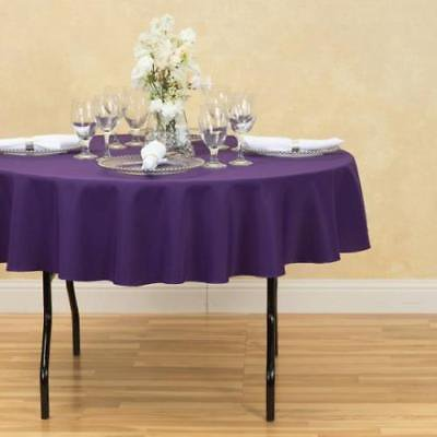 70 in. Round Polyester Tablecloth Purple ()