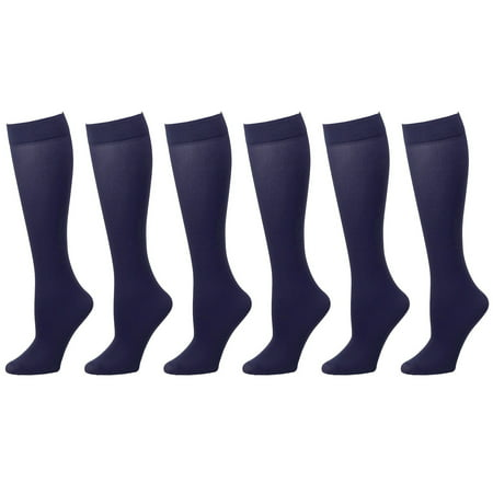 - 6-Pack Navy Women Trouser Socks with Comfort Band Stretchy Spandex Opaque Knee High