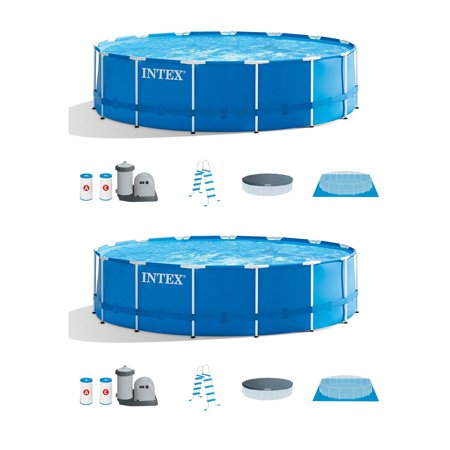 "Intex 18' x 48"" Metal Frame Above-Ground Pool Set w/Filter & Pump (2 Pack)"