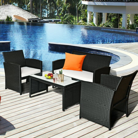 Costway 4PCS Patio Rattan Furniture Conversation Set Cushioned Sofa Table Garden Black - image 1 of 9