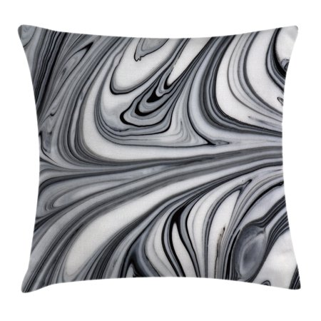 Mix Pillow - Apartment Decor Throw Pillow Cushion Cover, Mix of White and Black Hallucinatory Surreal Liquid Marble Figures Graphic Image, Decorative Square Accent Pillow Case, 16 X 16 Inches, Grey, by Ambesonne