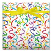 Happy Birthday Confetti Jumbo Rolled Gift Wrap - 67 sq. ft. heavyweight, tear-resistant and peek-proof wrap, Kids Birthday wrapping paper, Party Gift Wrap