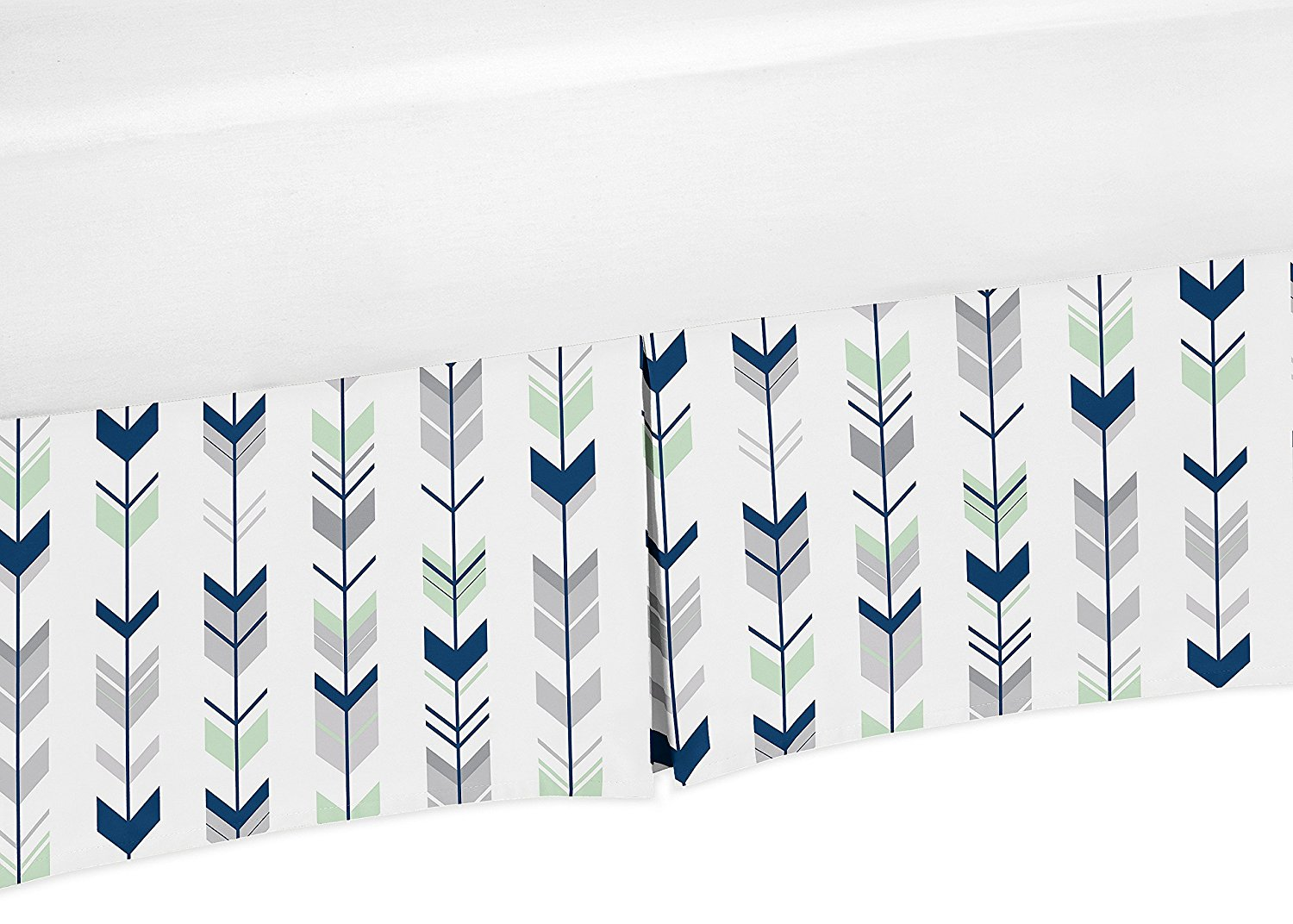 Navy Blue, Mint and Grey Crib Bedskirt Dust Ruffle for Boys or Girls Gender Neutral Mod Arrow Collection Baby... by Sweet Jojo Designs