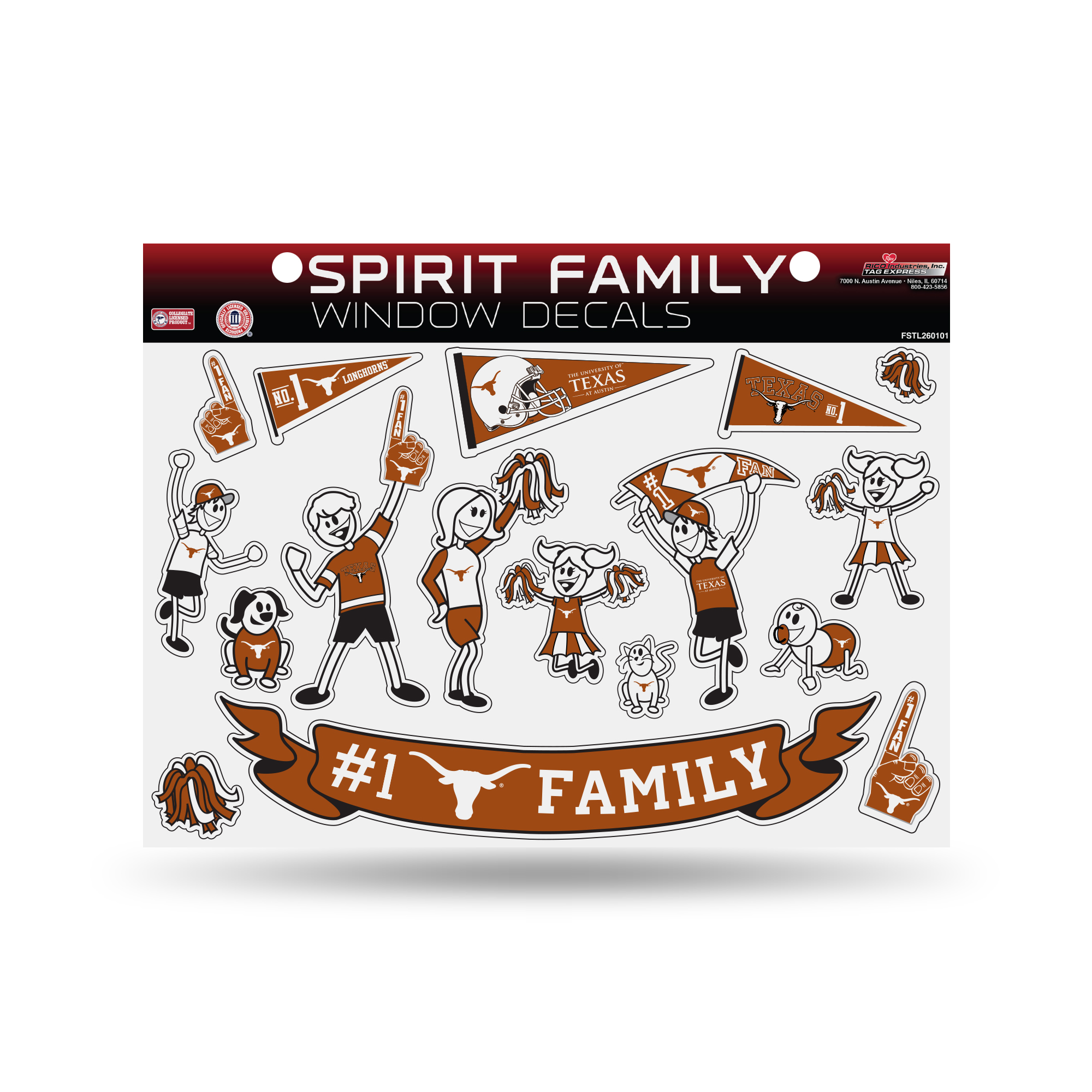 Texas Longhorns Official NCAA 11 inch x 11 inch  Large Family Car Decal Sheet by Rico
