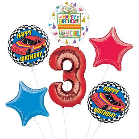 Race Car 3rd Birthday Party Supplies Stock Car Balloon Bouquet Decorations - Race Car Decorations