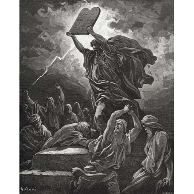 Engraving From The Dore Bible Illustrating Exodus Xxxii 19 Moses Breaking The Tables of The Law by Gustave Dore 1832-188 Poster Print, 13 x 17 - image 1 of 1