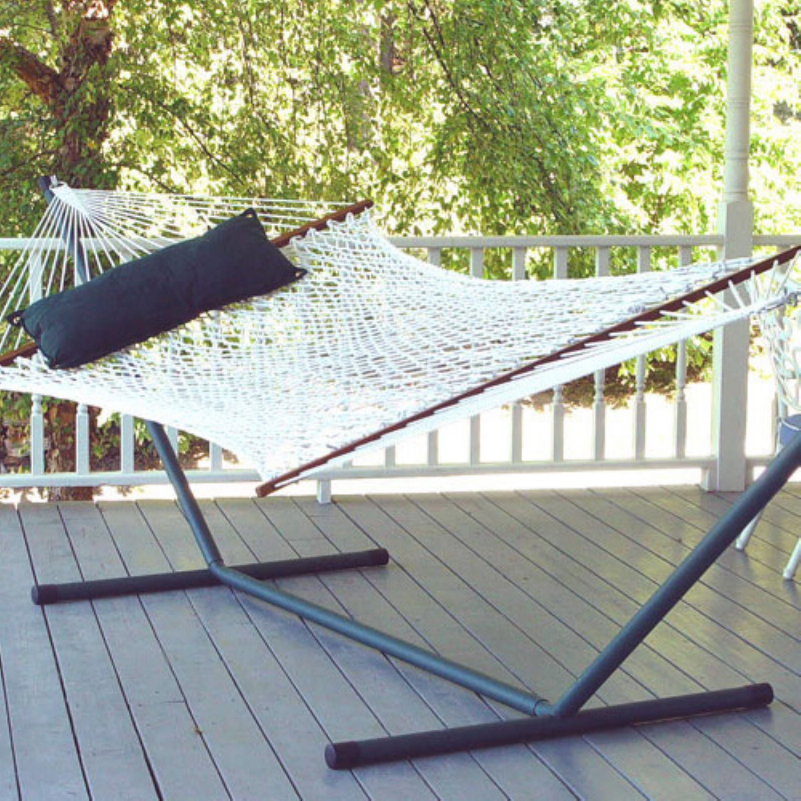 Coral Coast XL Rope Double Hammock with 15 ft. Steel Hammock Stand