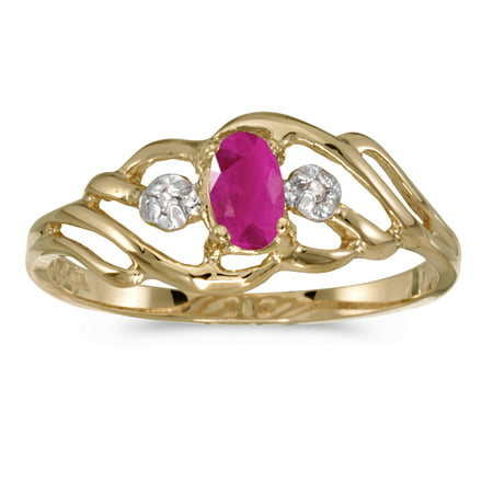 10k Yellow Gold Oval Ruby And Diamond (Unheated Oval Ruby)