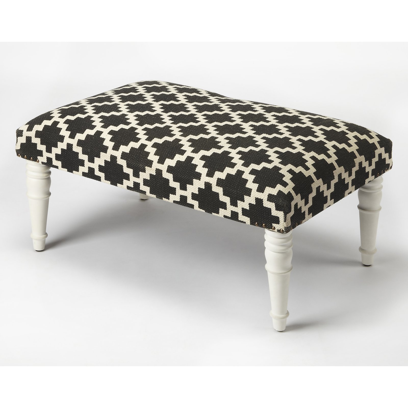 Butler Specialty Lucinda Black and White Upholstered Cocktail Ottoman