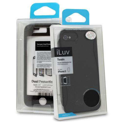 iLuv Twain Dual Protector Case Cover w/ Screen Guard for Apple iPhone 5 - Black