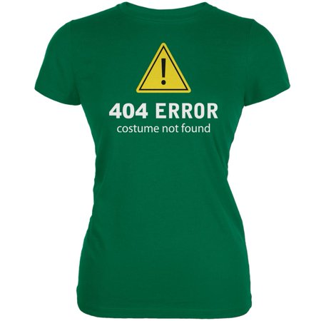 Halloween 404 Costume Not Found Kelly Green Juniors Soft T-Shirt - Kelly Karloff Halloween