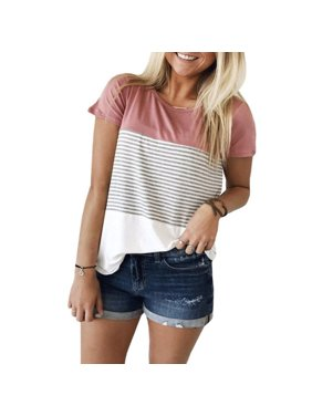fd6bbcfaf Product Image Women Casual Stripe Printed Patchwork Blouse Round Neck Short  Sleeve T-shirt Plus Size Tops