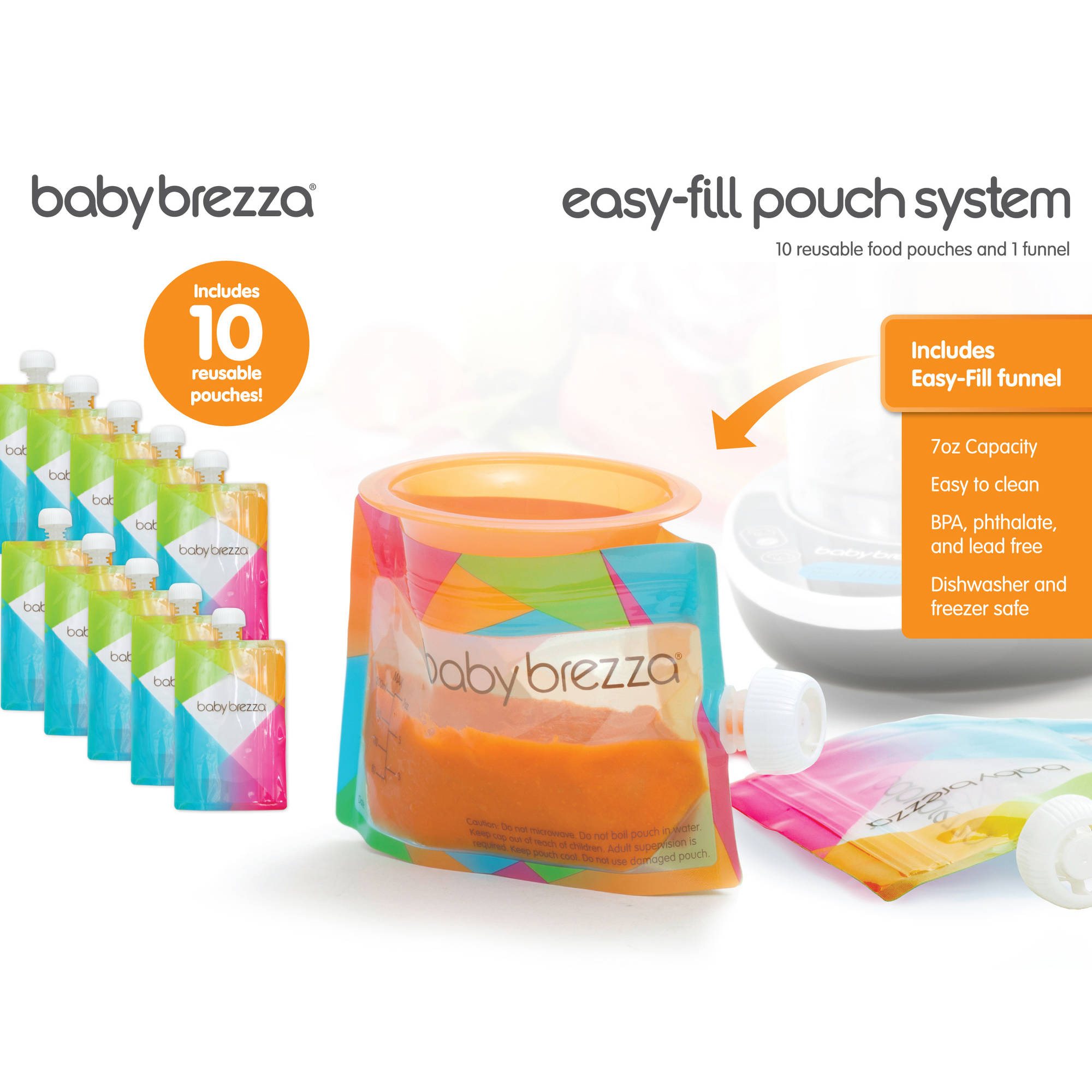 Baby Brezza Reusable Baby Food Storage Pouch - Make Homemade Organic Food