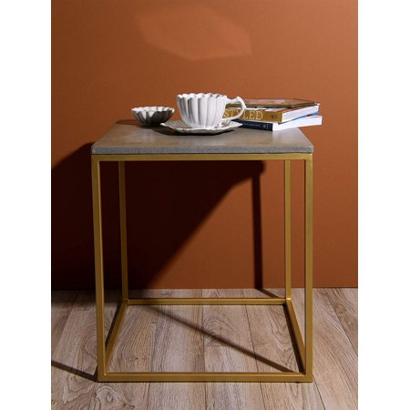 "Best Home Fashion Piers Square Concrete Table - Concrete - 18"" W x 18"" D x 20"" H"