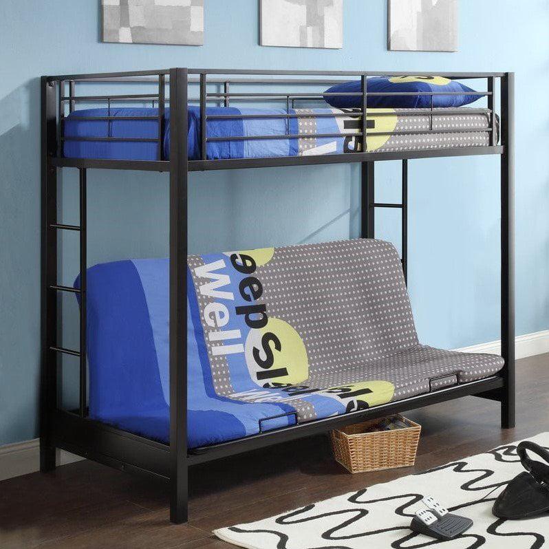 Walker Edison Twin Over Futon Metal Bunk Bed, Black