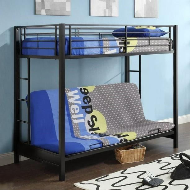 Walker Edison Twin Over Futon Metal Bunk Bed Black Walmart Com