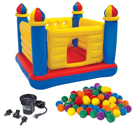 Intex Kids Inflatable Jump-O-Lene Ball Pit Castle Bouncer w/ Air Pump &