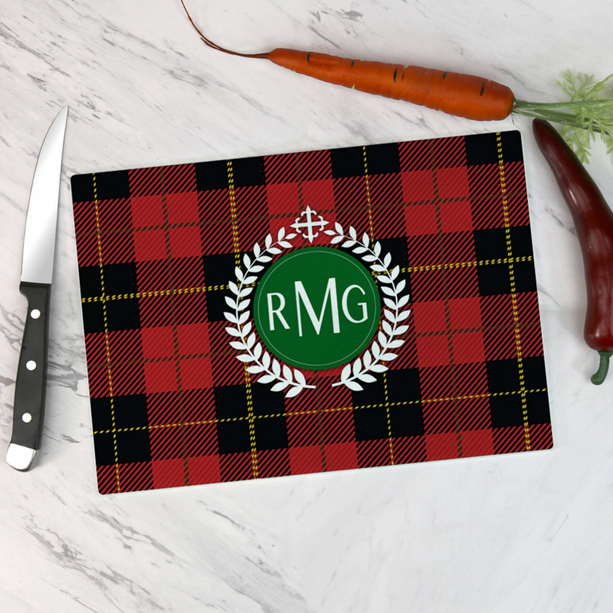 Personalized Monogram Glass Cutting Board 12.5x17.8125inches