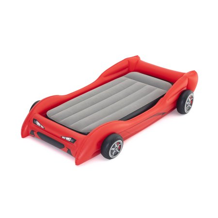 Ozark Trail Kids Race Car Airbed Rev and roar into dream wonderland with the fun design of the Ozark Trail? Race Car DreamChaser Kids Airbed! With the playful car shape, this airbed will make bedtime fun and exciting for your little one. Plus, the comfortable flocked sleeping surface will make kids feel at home wherever they are, and the back of the car can also double as a backrest. The recessed-center structure of this airbed makes safety a priority. This design provides a secure area for kids to sleep without fear of roll-off. The air mattress can also be removed and can be used on its own. Kids will have fun and get a great night?s sleep with the Ozark Trail Race Car DreamChaser Kids Airbed!