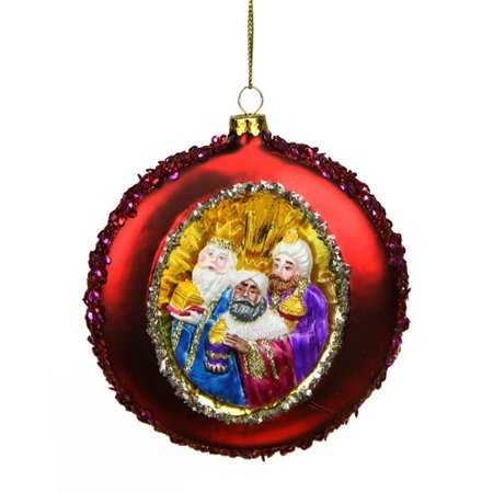Northlight Seasonal Three Wise Men Sequin Religious Christmas Glass Disc Ornament