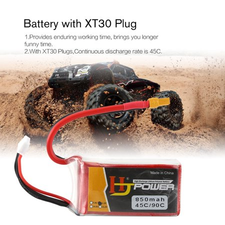 HJ 11.1V 850MAH 45C 3S Lipo Battery XT30 Plug Rechargeable for RC Racing Drone Helicopter Car Boat Model - image 3 de 10