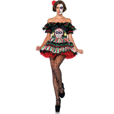 Leg Avenue Women's Day of the Dead Sugar Skull Costume - Half Skull Costume