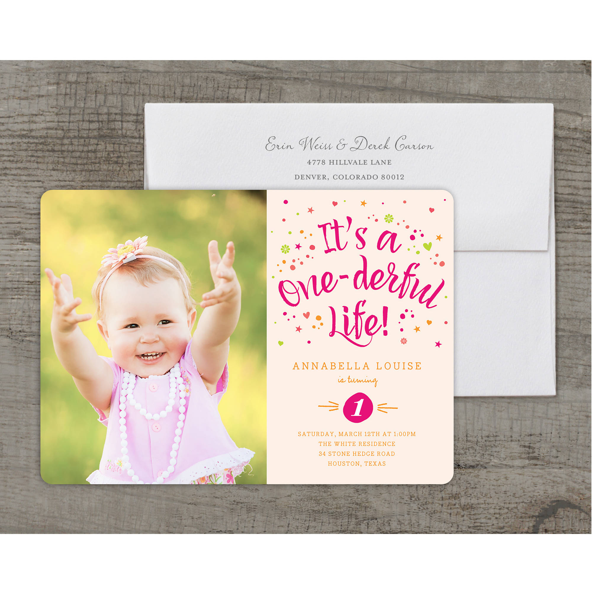 One-derful Life Deluxe Birthday First Invitation