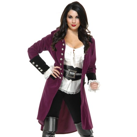Womens Pirate Vixen Plumberry And Black Velvet Long Jacket Coat - Vixen Pirate Halloween Costume