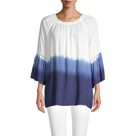 Dip-Dye Ombre Bell Sleeve Tunic