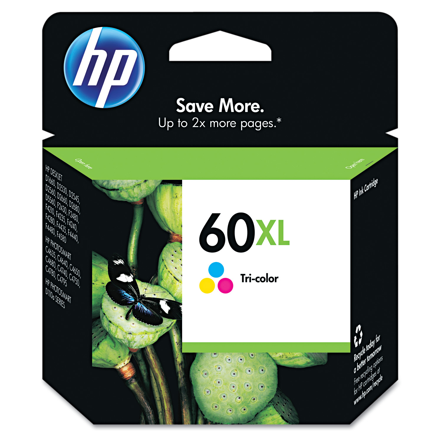 HP 60XL, (CC644WN) High Yield Tri-color Original Ink Cartridge by HP