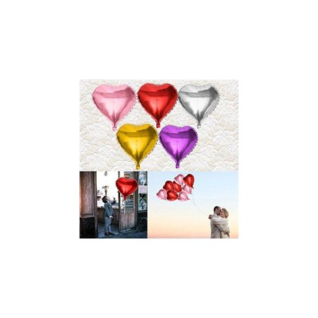 10pcs Bag Love Heart Design Helium Foil Balloon 5 Color Children Toy Gift Wedding Christmas Birthday Party Decorationsilver