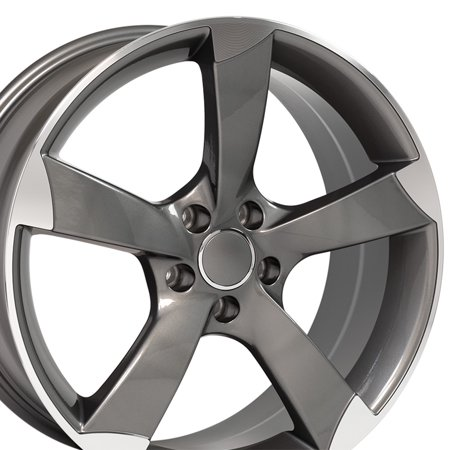 OE Wheels 19 Inch RS6 Style | Fits Volkswagen CC Beetle | Audi A3 A8 A4 A5 A6 TT | AU29 19x8.5 Rims Gunmetal Machined - SET | HOLLANDER # 58867
