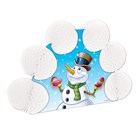 Club Pack of 12 Snowman Pop-Over Honeycomb Centerpiece Party Decorations 10