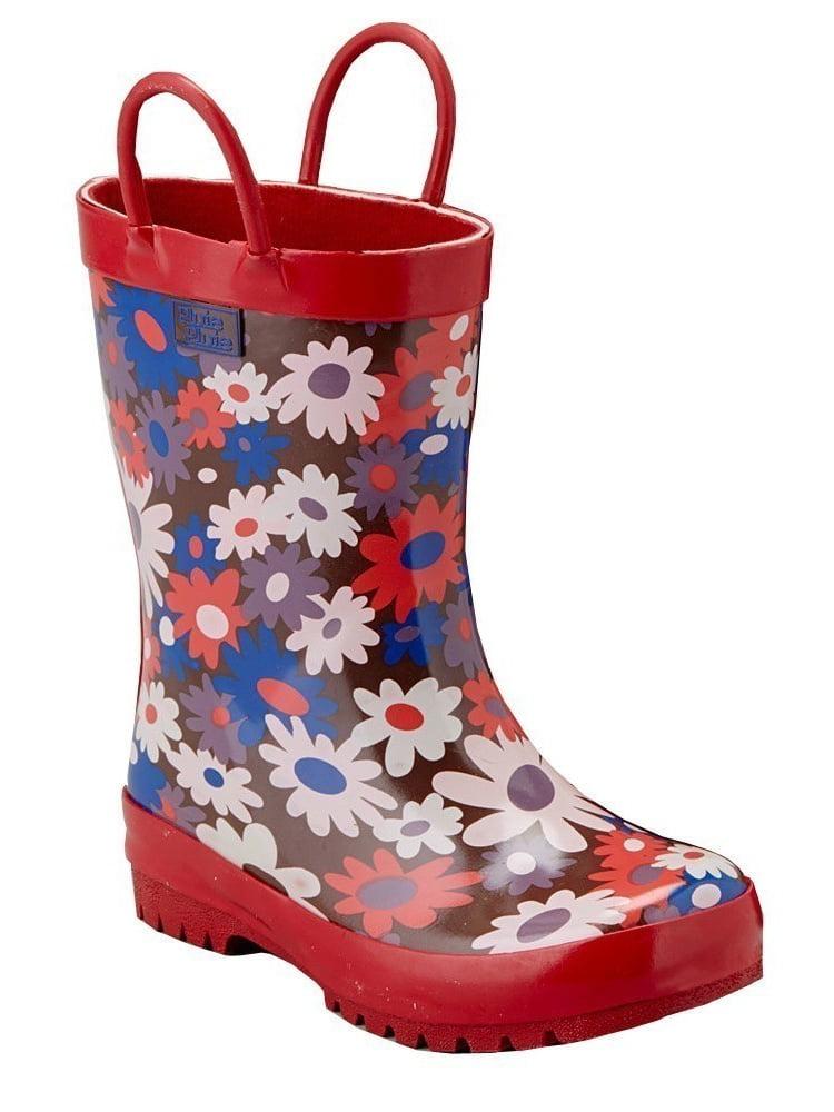 Pluie Pluie Little Girls Brown Red Kids Flower Rain Boots 11-2 Kids Red 70ca46