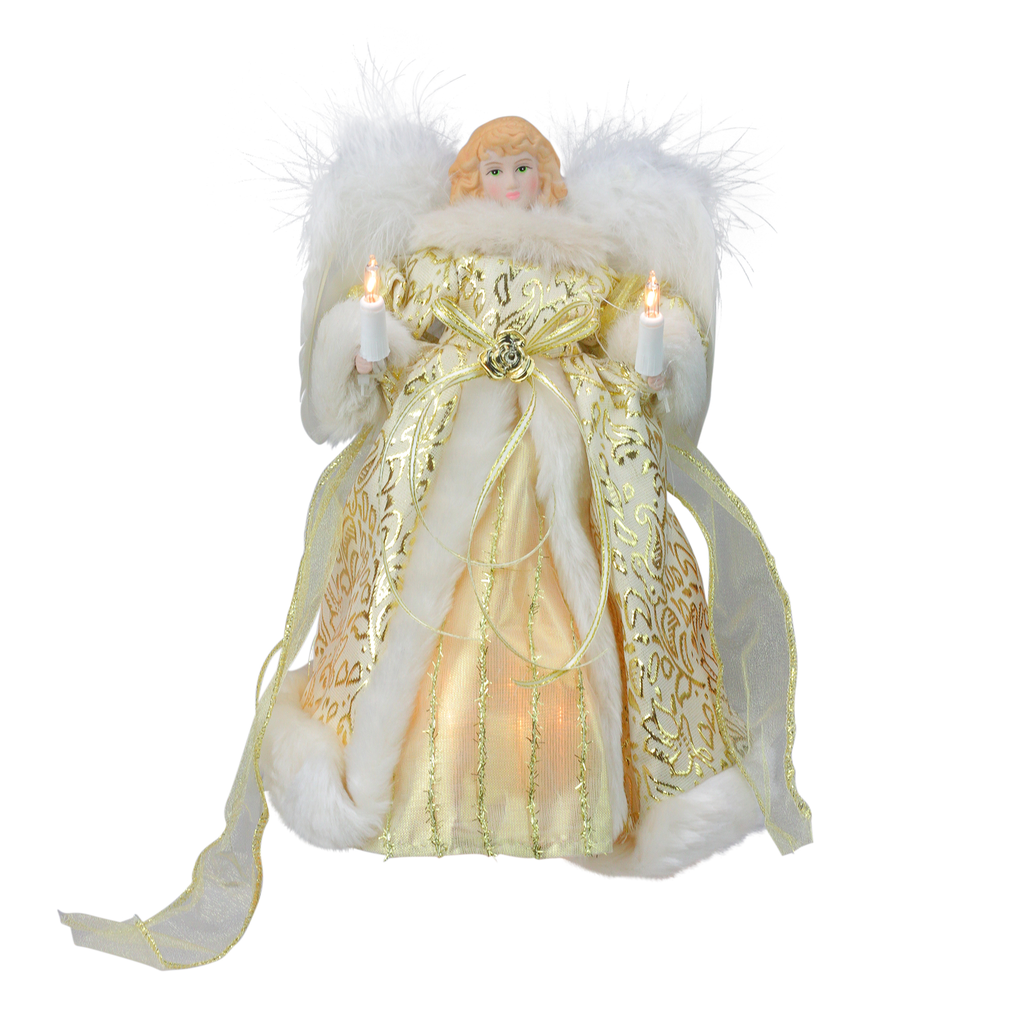 "10"" Lighted Fluffy Winged White and Gold Angel Christmas Tree Topper - Clear Lights"