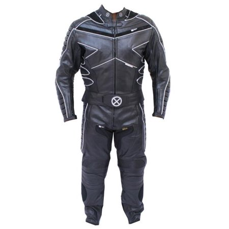 Perrini 2 PC X-MEN Leather Suit Black CE Armor Heavy Cowhide Racing Suit with Night Visibility ()