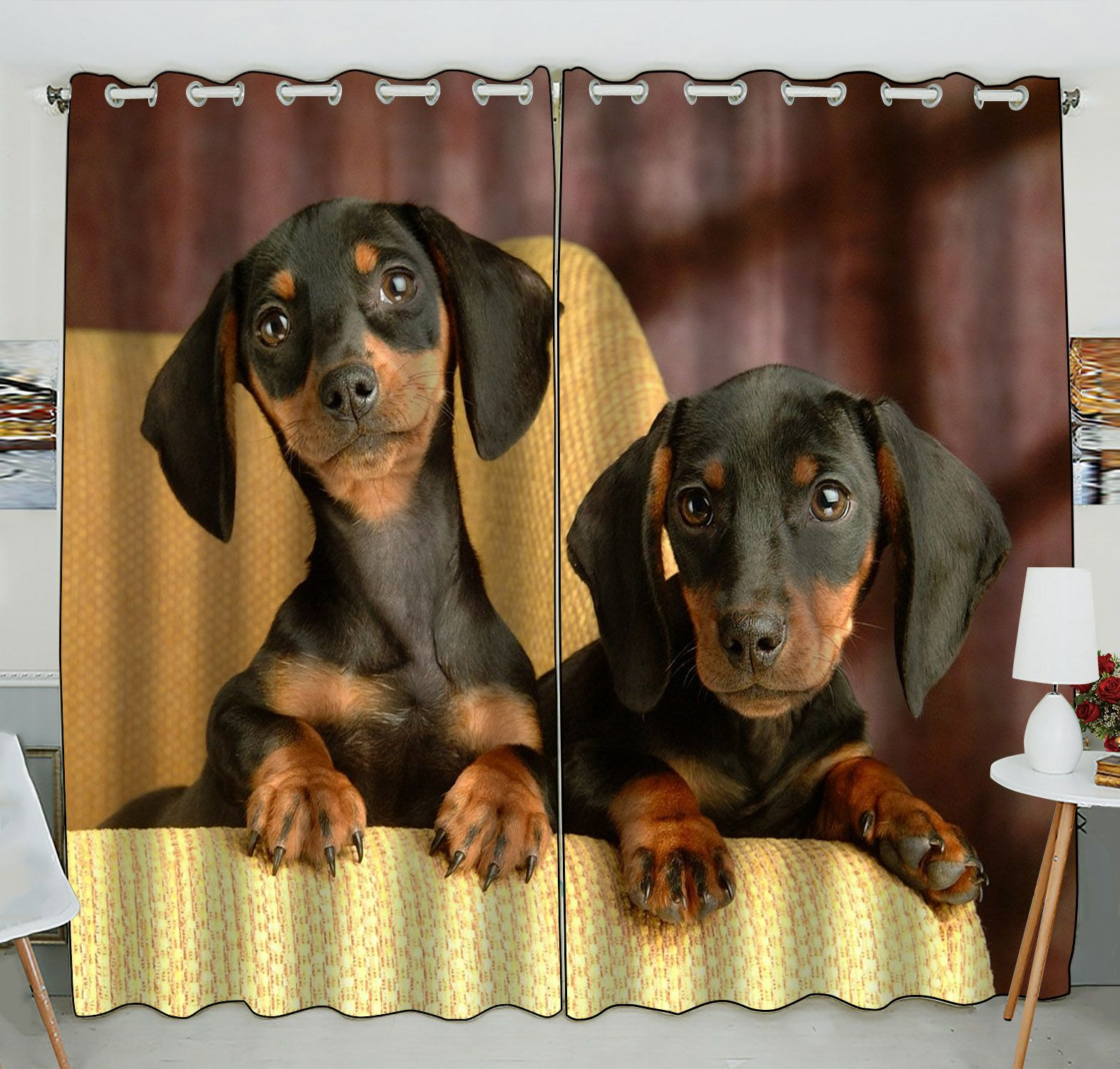 ZKGK Dachshund Window Curtain Drapery/Panels/Treatment For Living Room Bedroom Kids Rooms 52x84 inches Two Panel